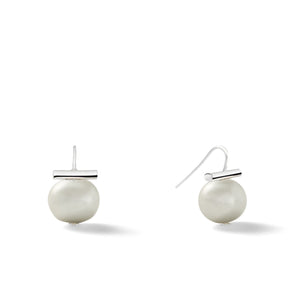 Sterling Medium Pebble Pearl Earrings in Soft Grey – Catherine Canino's most universal size and it's Catherine's personal fave, here as a pretty light grey color