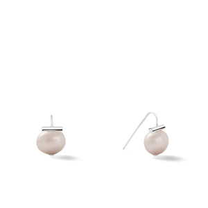 Sterling Baby Pebble Pearl Earrings in Soft Grey – Petite, scaled down versions of Catherine Canino's most popular design with a light grey stone and sterling silver, option for sterling silver/oyster combo