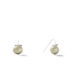 Sterling Baby Pebble Pearl Earrings in Soft Grey – Petite, scaled down versions of Catherine Canino's most popular design with a light grey stone and sterling silver, option for sterling silver/beetle combo