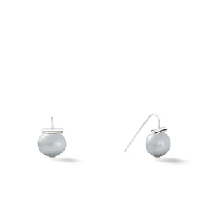 Sterling Baby Pebble Pearl Earrings in Soft Grey – Petite, scaled down versions of Catherine Canino's most popular design with a light grey stone and sterling silver, option for sterling silver/grey combo