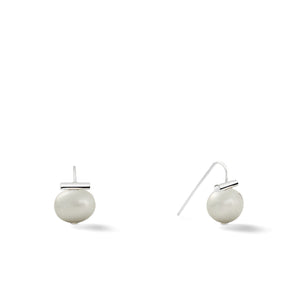 Sterling Baby Pebble Pearl Earrings in Soft Grey – Petite, scaled down versions of Catherine Canino's most popular design with a light grey stone and sterling silver