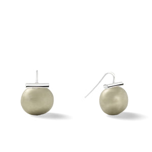 Sterling Large Pebble Pearl Earrings in Beetle – Catherine Canino's most popular design is a classic piece for your wardrobe in this green-ish grey hue shown