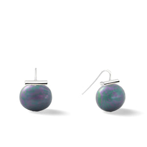 Sterling Large Pebble Pearl Earrings in Graphite – Catherine Canino's most popular design is a classic piece for your wardrobe in a striking dark grey/purple tone
