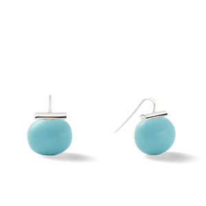 Sterling Large Pebble Pearl Earrings in Turquoise – Catherine Canino's most popular design is a classic piece for your wardrobe with a vibrant turquoise blue stone