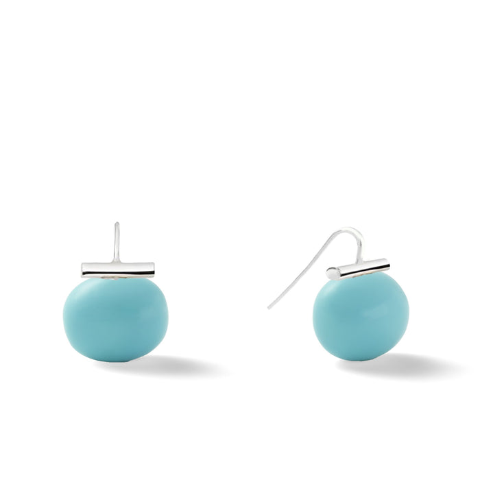 Sterling Large Pebble Pearl Earrings in Turquoise