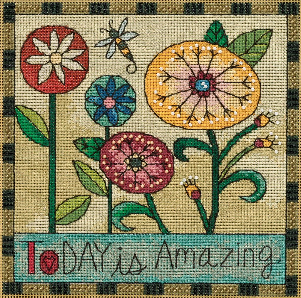 """Today is Amazing"" cute contemporary floral motif with a buzzing bee"