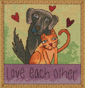 """Love each other"" stitch kit with cute cat and dog best friend duo"