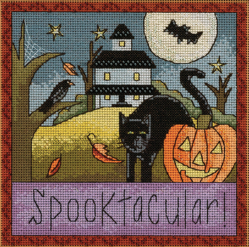 """Spooktacular!"" whimsy Halloween theme stitch kit"