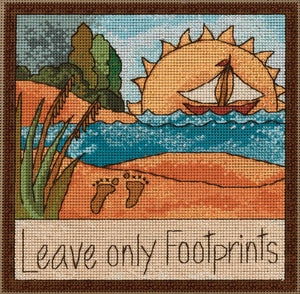 """Leave only footprints"" stitch kit coastal beach design"