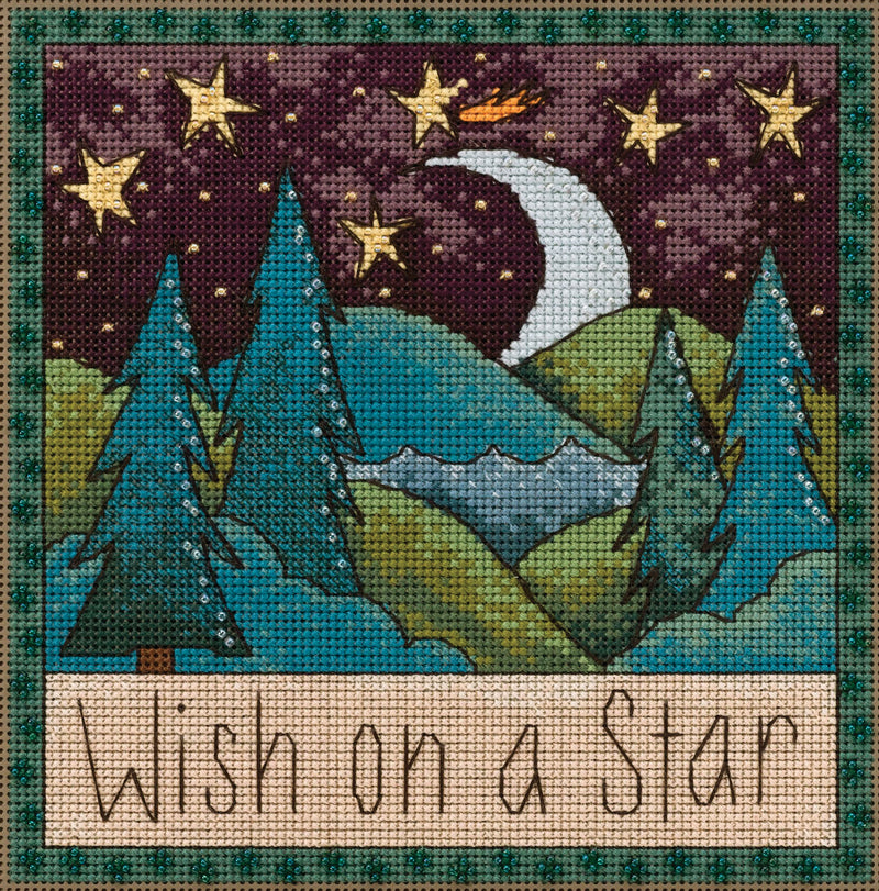 "Sweet ""wish on a star"" stitch kit with a starry night landscape design"