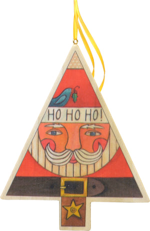 """Ho Ho Ho"" Ornament – Jolly St. Nick fills this printed Christmas tree ornament front view"