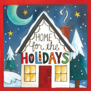 """Santa Stop Here"" Plaque – Beautiful artisan printed holiday plaque, ""Home for the Holidays"" front view"