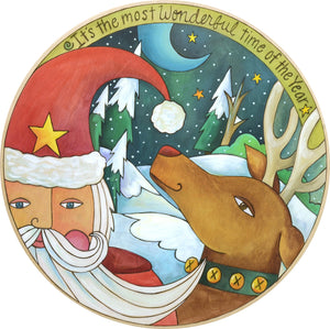 """Santa's on the Way!"" Lazy Susan – Beautiful artisan printed holiday lazy susan with Santa and Rudolph, ""It's the most Wonderful time of the Year"" front view"
