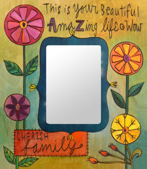 """Sarah's Garden"" Picture Frame – Lovely artisan printed picture frame with floral motifs, ""Cherish Family"" front view"