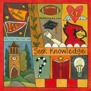"""Seek Knowledge"" Plaque – Beautiful artisan printed plaque in honor of Iowa State University front view"