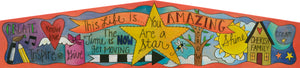 """Shine Bright"" Door Topper – Phrases and icons collage to inspire you as you head out the door each day front view"