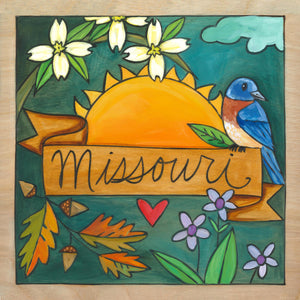 """Show Me"" Plaque – Seasonal floral Missouri plaque motif with state bluebird on a banner front view"