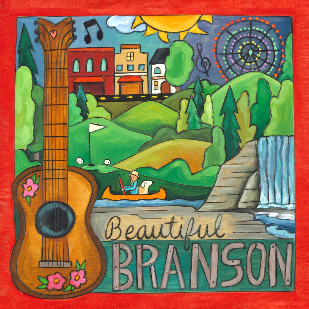 """Beautiful Branson"" landscape on the lake with an acoustic guitar motif"