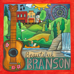 """Show Town"" Plaque – ""Beautiful Branson"" landscape on the lake with an acoustic guitar motif front view"