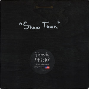 """Show Town"" Plaque – ""Beautiful Branson"" landscape on the lake with an acoustic guitar motif back view"