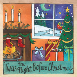 """Silent Night"" Plaque – ""'Twas the Night Before Christmas"" plaque with stockings on the fireplace and presents under the Christmas tree motif front view"