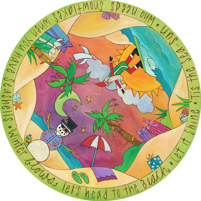 Tropical landscape lazy susan motif with a holiday twist
