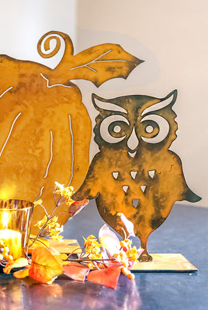 Screech Owl Sculpture – Playful small owl sculpture with flapping wings is the perfect fun touch to your family's fall display main view