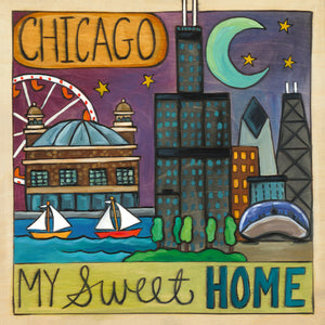 """Sweet Home Chicago"" Plaque – ""Chicago, my sweet home"" metro landscape design front view"