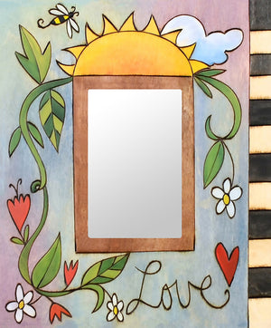 """Sweet Pea McB"" Picture Frame – Lovely artisan printed picture frame with flowering vine motif, ""Love"" front view"