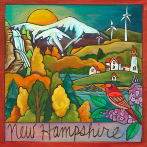 """The Granite State"" Plaque – Beautiful fall foliage New Hampshire landscape plaque with the White Mountains and state bird and flower in the corner"