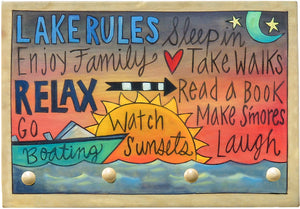 """The Lake Rules"" Key Ring Plaque – Make great memories"" at the lake key rack"