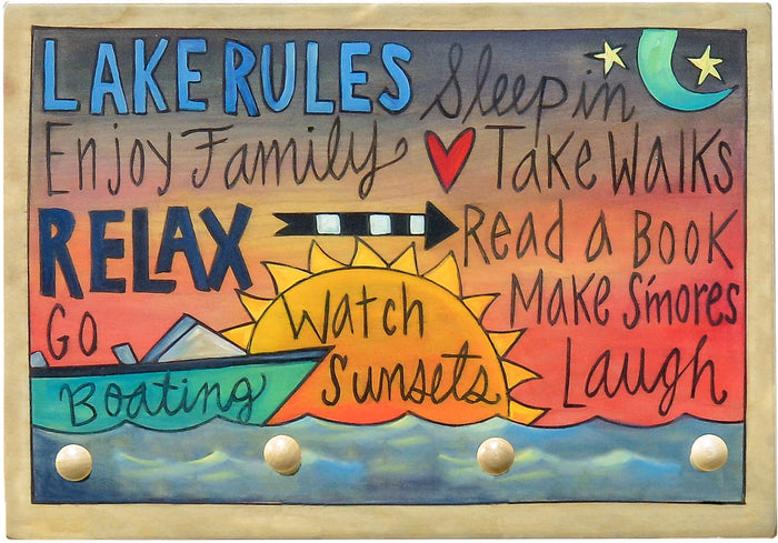 """The Lake Rules"" Key Ring Plaque"
