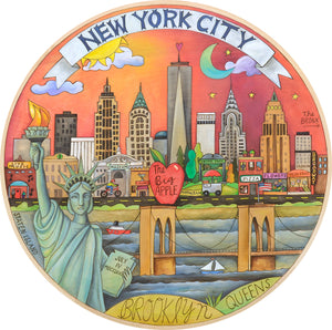 """The City that Never Sleeps"" Lazy Susan – An urban skyline motif depicting all the constant action of ""The Big Apple"" front view"