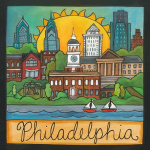 """The Cradle of Liberty"" Plaque – Beautiful artisan printed plaque honoring Philadelphia, PA front view"