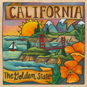 """The Golden State"" Plaque – Beautiful west coast landscape featuring the Golden Gate Bridge front view"