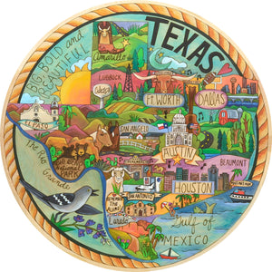 """The Heart of Texas"" Lazy Susan – Beautiful and ornate artisan printed lazy susan honoring the state of Texas front view"