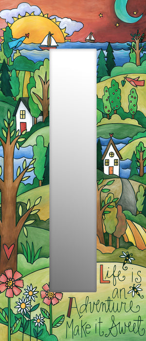 """The Right Path"" Mirror – ""Life is an adventure"" mirror with a rolling hills landscape front view"