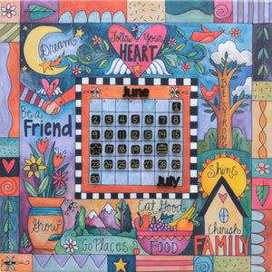 """This Sweet Life"" Perpetual Calendar – Cute ""follow your heart"" floating icon and crazy quilt mashup motif on a canvas calendar front view"