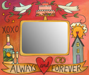 """Tie the Knot"" Picture Frame – Lovely artisan printed frame with wedding motif, ""Always and Forever"" front view"