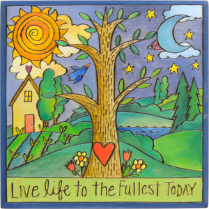 """Tree of Life"" Plaque – ""Live life to the fullest today"" with a traditional Sticks tree of life nestled in a landscape motif front view"