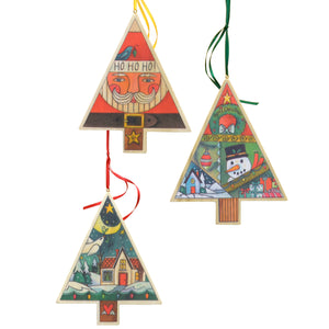 Tree Holiday Ornament Set – A set of all three printed tree holiday ornaments main view
