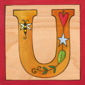 "Sincerely, Sticks ""U"" Alphabet Letter Plaque option 1 with various little icons inside the letter"