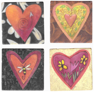 Hearts Marble Magnet Set – Various Sticks heart designs with fun patterns, colors, and accent imagery mixed in main view