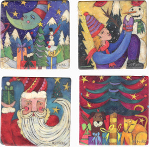 Christmas Marble Magnet Set – Folky Christmas and winter scenes decorate marble magnets main view