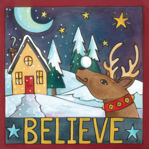 """Up on the Rooftop"" Plaque – Adorable artisan printed plaque with holiday and winter scene motifs, ""Believe"" front view"