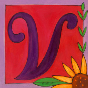 "Sincerely, Sticks ""V"" Alphabet Letter Plaque option 1 with  flower"