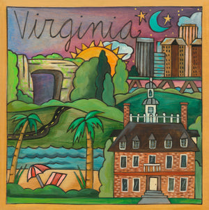 """Virginia is for Lovers"" Plaque – Virginia plaque motif with local landscapes and landmarks like historic Mount Vernon"