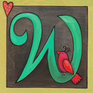 "Sincerely, Sticks ""W"" Alphabet Letter Plaque option 1 with bird and heart"