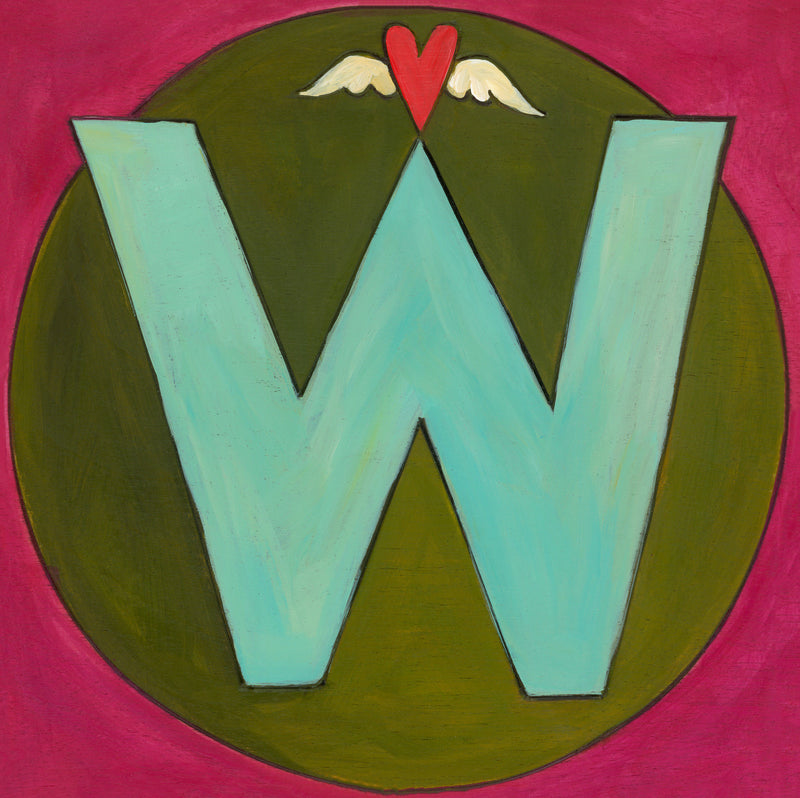 "Sincerely, Sticks printed letter ""W"" plaque, option 2"