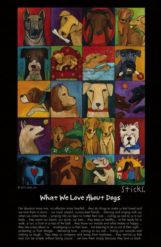 "WWLA Dogs Poster –  ""What We Love About Dogs"" poster with adorable furry friends motif"